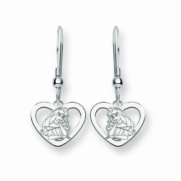 Sterling Silver Disney Aurora Heart Wire Dangle Earrings