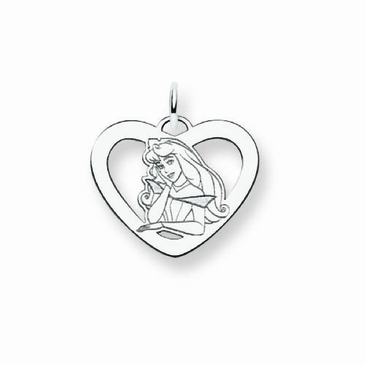 Sterling Silver Disney Aurora Silhouette Heart Charm