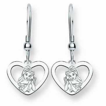 Sterling Silver Disney Belle Silhouette Heart Wire Dangle Earrings
