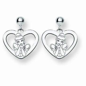 Sterling Silver Disney Cinderella Heart Post Dangle Earrings