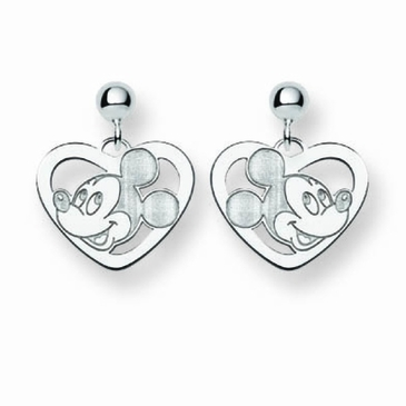 Sterling Silver Disney Mickey Mouse Silhouette Heart Post Dangle Earrings