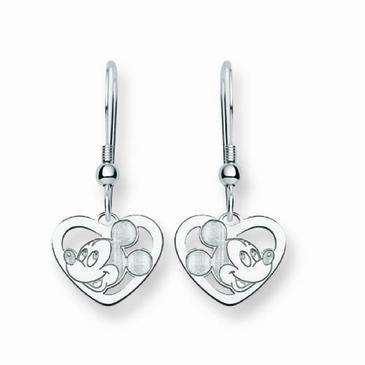Sterling Silver Disney Mickey Mouse Silhouette Heart Wire Dangle Earrings