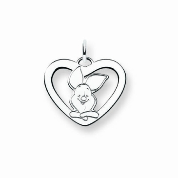 Sterling Silver Disney Piglet Silhouette Heart Charm