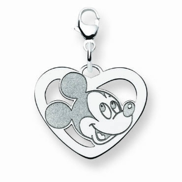 Sterling Silver Disney Small Mickey Mouse Silhouette Heart Charm with Lobster Clasp