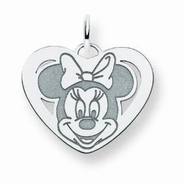 Sterling Silver Disney Small Minnie Mouse Cutout Heart Charm