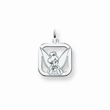Sterling Silver Disney Small Tinker Bell Portrait Silhouette Square Charm