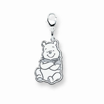 Sterling Silver Disney Small Winnie the Pooh Charm with Lobster Clasp