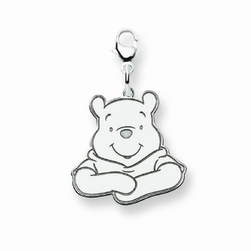 Sterling Silver Disney Small Winnie the Pooh Portrait Charm with Lobster Clasp