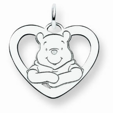 Sterling Silver Disney Small Winnie the Pooh Silhouette Heart Charm