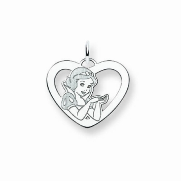 Sterling Silver Disney Snow White Silhouette Heart Charm