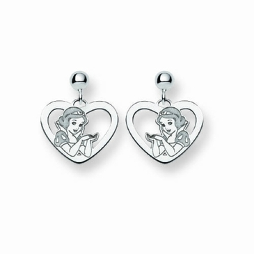 Sterling Silver Disney Snow White Silhouette Heart Post Dangle Earrings