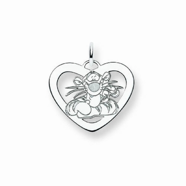 Sterling Silver Disney Tigger Silhouette Heart Charm