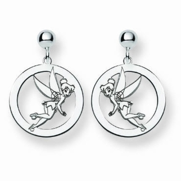 Sterling Silver Disney Tinker Bell Silhouette Circle Post Dangle Earrings