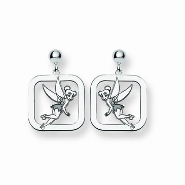 Sterling Silver Disney Tinker Bell Silhouette Square Post Dangle Earrings