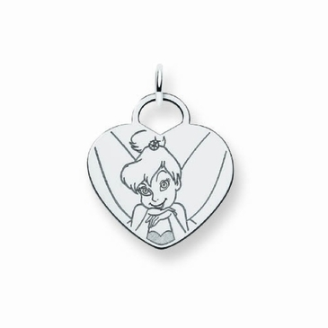 Sterling Silver Disney Tinker Bell Solid Heart Charm