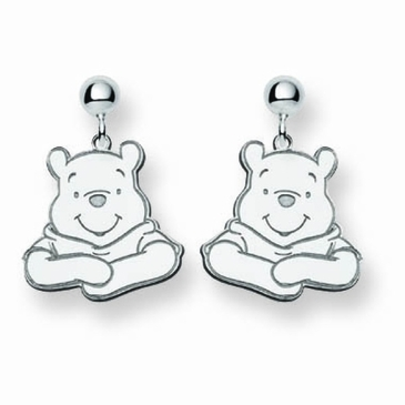 Sterling Silver Disney Winnie the Pooh Portrait Post Dangle Earrings