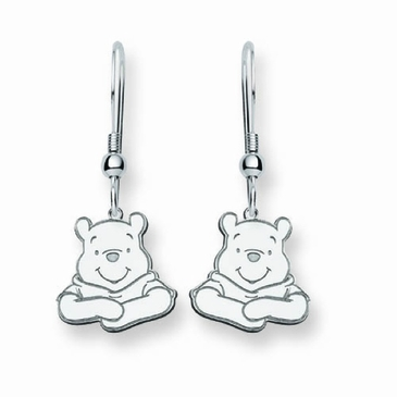 Sterling Silver Disney Winnie the Pooh Portrait Wire Dangle Earrings
