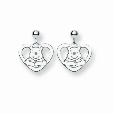 Sterling Silver Disney Winnie the Pooh Silhouette Heart Post Dangle Earrings