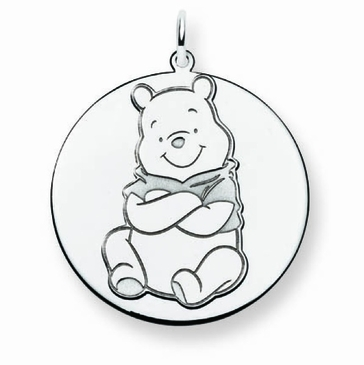 Sterling Silver Disney Winnie the Pooh Solid Disc Charm