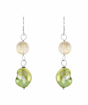 Sterling Silver Earrings with Natural Green Pearl & Crystal Bead