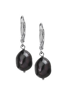 Sterling Silver Freshwater refined black ovoid Pearl Earrings