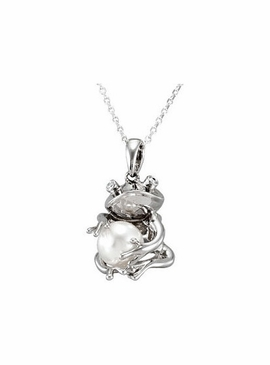 Sterling Silver Frog with Freshwater Cultured Pearl