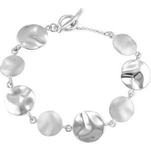 Sterling Silver Hammered Disc Link Bracelet