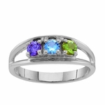 Sterling Silver Open Band Birthstone Ring