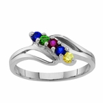 Sterling Silver Open Swirl Birthstone Ring