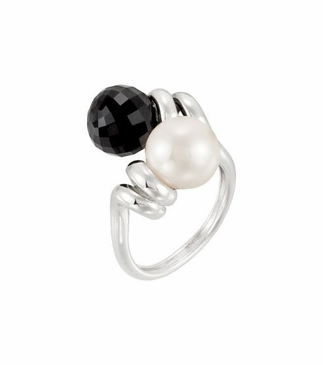 Sterling Silver Pear and Agate Ring