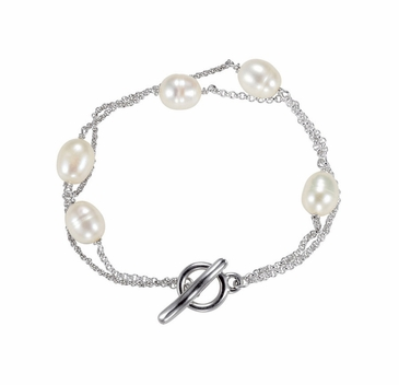 Sterling Silver Pearl and Link Chain Toggle Bracelet