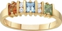 Sterling Silver Princess Cut Birthstone Ring - click to Enlarge