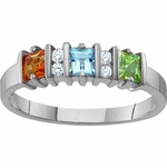 Sterling Silver Princess Cut Birthstone Ring