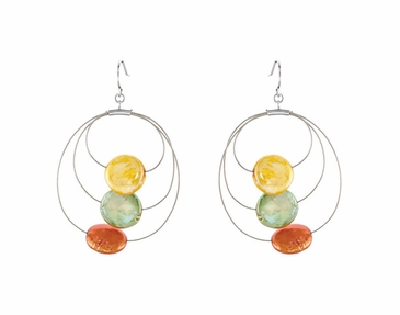Sterling Silver Round Earrings with Cultured Dyed Coin Bead and Freshwater Pearl