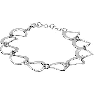 Sterling Silver Twisted Drop Link Bracelet