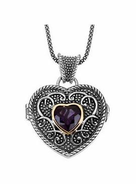 Sterling Silver & Yellow Gold Heart Locket Pendant