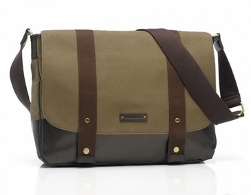Storksak Aubrey Khaki/Chocolate Mom and Dad Messenger Diaper Bag