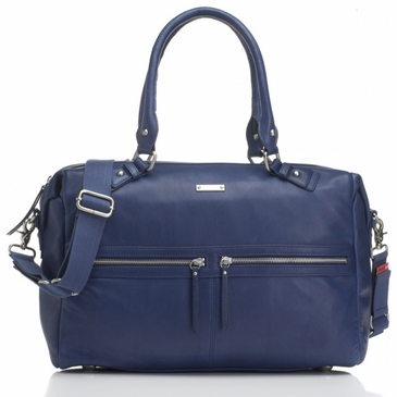 Storksak Caroline Navy Blue Leather Diaper Bag