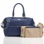 Storksak Caroline Navy Blue Leather Diaper Bag - click to Enlarge