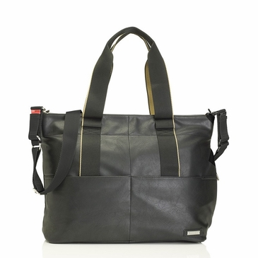 Storksak Eden Black Faux Leather Diaper Bag