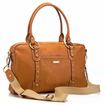 Storksak Elizabeth Leather Diaper Bag - Camel/Tan