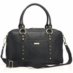 Storksak Elizabeth Leather Black Diaper Bag