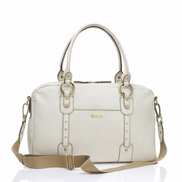 Storksak Elizabeth Leather Diaper Bag in Chalk/White