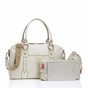 Storksak Elizabeth Leather Diaper Bag in Chalk/White - click to Enlarge