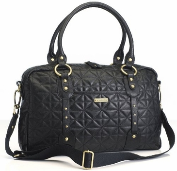 Storksak Elizabeth Quilted Leather Diaper Bag - Black