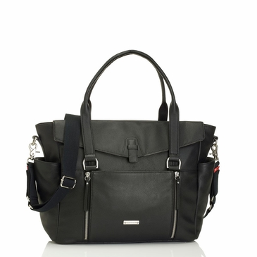 Storksak Emma Leather Diaper Bag - Black