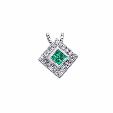 Stunning Emerald and Diamond Necklace with Square Pendant