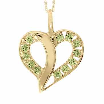 Stylized Split Heart Birthstone Gold Necklace - with Genuine Stones