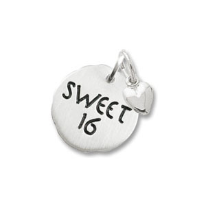 Sweet 16 Tag with Heart Charm by Forever Charms - Personalized