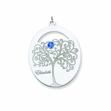 Sweet Family Tree and Birthstone Pendant - Personalized
